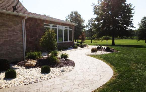 Landscaping along Custom Walkway