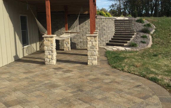 Stone Patio with staircase