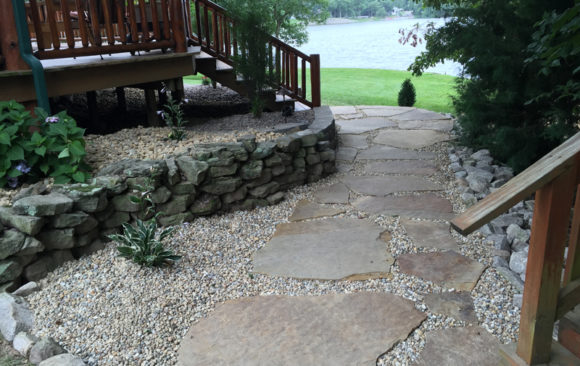 Landscape with stone pathway