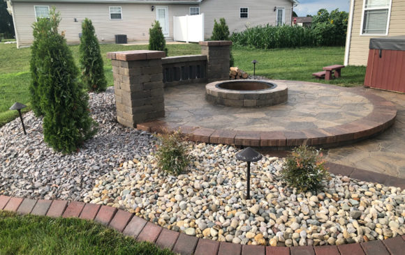 Firepit with landscaping