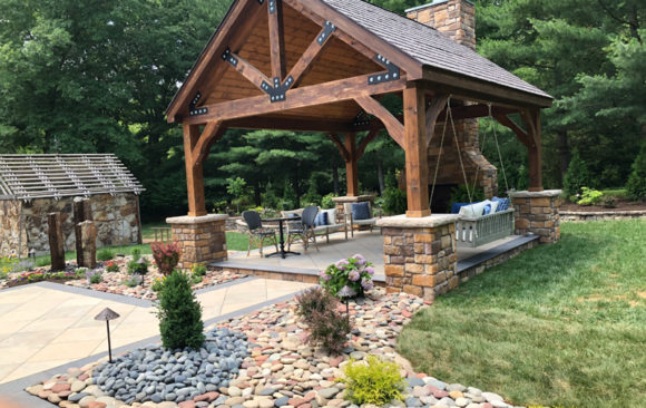Gazebo with landscaping